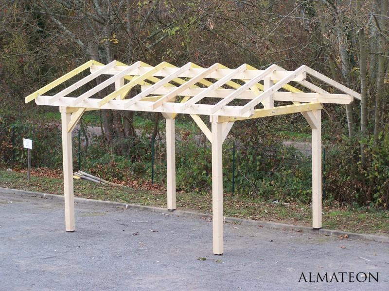 carport double pente avec pr paration pour couverture tuile almateon. Black Bedroom Furniture Sets. Home Design Ideas
