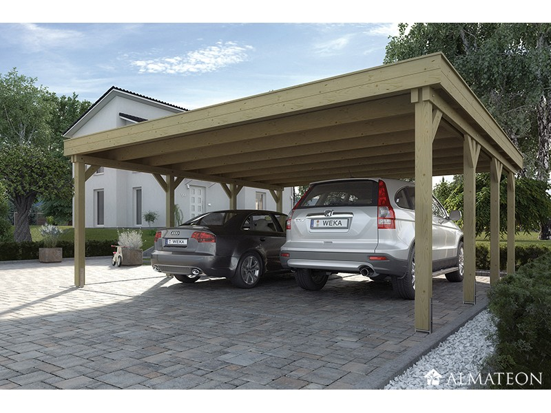 carport double w609 toit plat en pvc taille 2 almateon. Black Bedroom Furniture Sets. Home Design Ideas