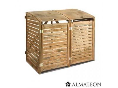 Cache poubelle double en bois almateon - Fabriquer cache poubelle bois ...