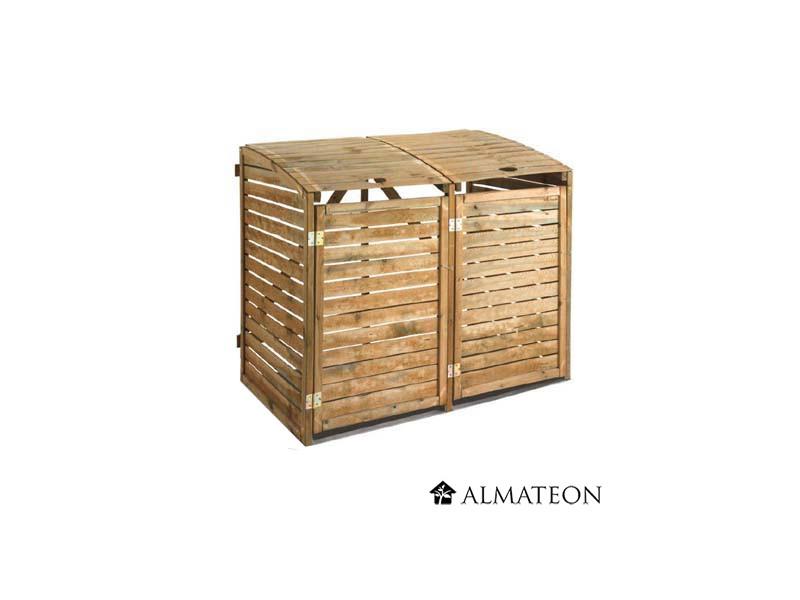Cache poubelle double en bois almateon - Cache poubelle double ...