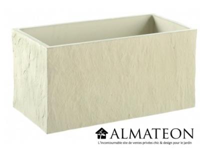 Bac pour plantations avec reliefs couleur ivoire de 80 litres et de dimensions 78x38x36cm