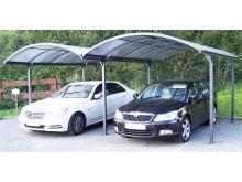Offre spéciale double carport aluminium, toit en 1/2 rond avec plaques en POLYCARBONATE ANTI-UV 6 mm