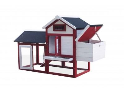 En avant première -50€ votre poulailler bi-corps standard couvert, bois teinté et toit bitumé