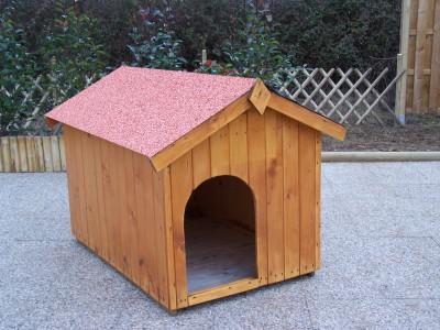 Niche en bois bi pente pour moyen chien 0 96m2 toit bitum for Niche exterieur chien