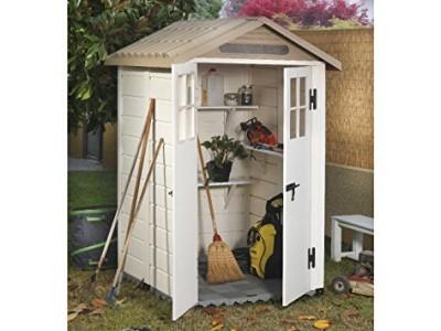 Vente privée -50€ votre abri jardin résine mural bicolore,toit bi-pente, grosse épaisseur 22cm,1.97m2 voir vidéo de présentation