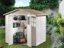 Vente privée -50€ votre abri jardin résine bicolore,toit bi-pente, grosse épaisseur 22cm,3.98m2