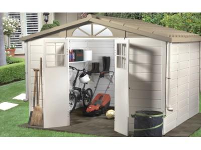 Vente privée -100€ votre abri jardin résine bicolore,toit bi-pente, grosse épaisseur 22cm,8.06m2
