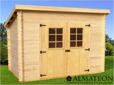 Opération grandes vacances votre Abri Madriers en bois massif de 6,22 m2 avec toit 1 pente sans plancher