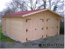 Opération grandes vacances votre Garage double porte avec Madriers bois massif de 42mm et de surface extérieure : 42,16 m2