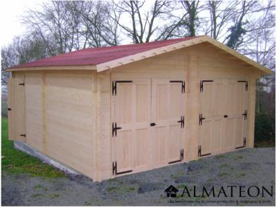 votre Garage double porte avec Madriers bois massif de 42mm et de surface extérieure : 42,16 m2