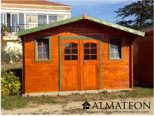 Abri madriers (28mm) bois massif de 19,17m2 toit double pente