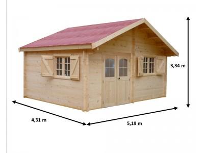 Offre spéciale votre abri 22,37m2 madriers bois massif 42 mm ,surface utile 15,16 m2