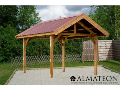 Promotion lancement WEB -150€ votre auvent THURAC 10,80m2 en bois thermo chauffé 2 pentes en bois couvertures plaques ondulées