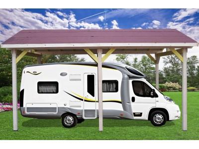 SPECIAL CAMPING CAR ETE -150€ votre carport auvent avec double pente avec couverture bardeau bitumé,surface extérieure : 21,00 m