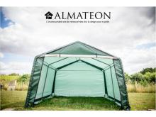 Abri en toile renforcée verte toit 2 pentes de 3,65x3,65 m:13,30m2