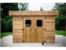 Abri madriers THIZY (19mm) de 11,53m2 toit monopente bac acier avec bois traité (thermo chauffé)