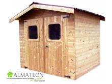 Opération grandes vacances votre Abri madriers THERMABRI (28mm) de 7,81m2 toit double pente avec bois traité (thermo chauffé)