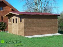 Abri madriers THERMABRI (28mm) de 23,82m2 toit double pente avec bois traité (thermo chauffé)