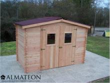 Abri madriers DALIA (20mm) de 5,24m2 avec grande façade (3m) toit double pente avec bois naturellement durable (Fabriqué en Fran