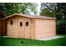 Abri madriers DOMMAR (28mm) de 18,90m2 toit double pente avec bois naturellement durable (Fabriqué en France)