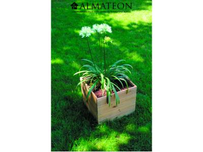 Bac à fleur carrée ESSEÑCIA 40 en bois traité de 44 L