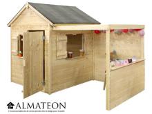 Cabane enfant en bois Alpaga avec pergola de 3,14m2
