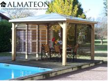 NOUVEAUTE votre pool House bluetherm  structure en bois, 2 parois avec ventelles mobiles, toit en panneaux ACP 14,36m2
