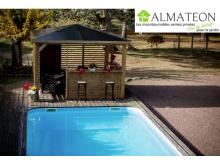 NOUVEAU votre pool House bluetherm  structure en bois / 2 parois avec ventelles mobiles / 2 parois avec comptoir / toit en panne