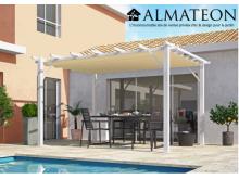 NOUVEAU votre pergola de 12 m2 en 100% aluminium coloris blanc poteaux toile 140 grs / m2 couleur écru