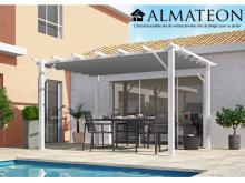 NOUVEAU votre pergola de 12 m2 en 100% aluminium coloris blanc poteaux toile 140 grs / m2 couleur gris