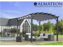 Pergola 11,22 m2 avec arche structure mixte aluminium/acier coloris gris anthracite toile couleur gris 280 gr/m2