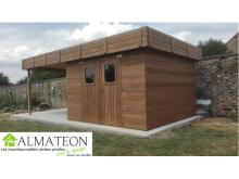 NOUVEAU votre abri THALASSO de 20,46 m2 en  bois thermo chauffé 28 mm toit plat bac acier avec bûcher