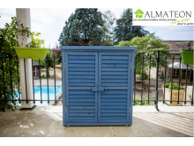 NOUVEAUTE votre armoire de rangement lasurée couleur bleu équipée de 3 étages