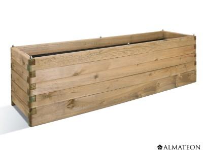 Bac à fleurs rectangulaire en bois Oléa 180, grande capacité, 252 L