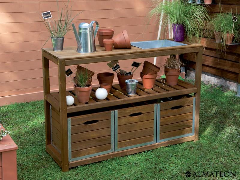 table de pr paration en bois pour le jardinage dimensions l 129 x p 45 x h 90 cm. Black Bedroom Furniture Sets. Home Design Ideas