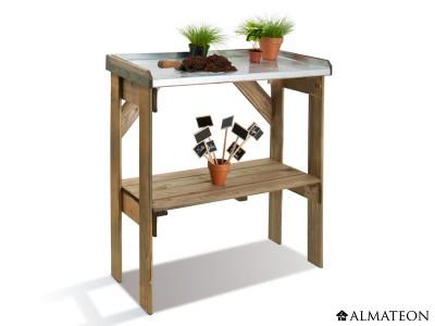 Table de préparation Easy en bois avec plateau en zinc de 85 cm de hauteur