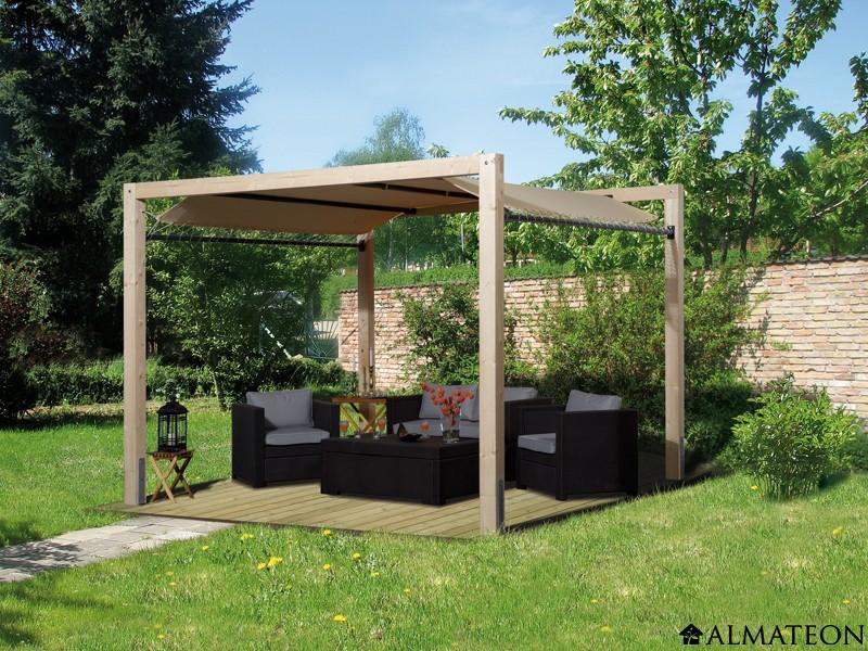 tonnelle siesta en bois brut 10 5 m2 324 x 324 x cm almateon. Black Bedroom Furniture Sets. Home Design Ideas
