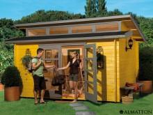 Spécial ETE votre abri en bois brut, 11.4 m2, Avant Garde 2, épaisseur 28 mm en 4 impostes