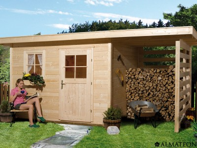 Abri en bois brut, 9.2 m2 avec appentis, Schongau 5, épaisseur 28 mm