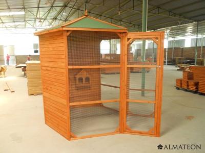 voli re hexagonale en bois pour oiseaux avec sas d 39 entr e