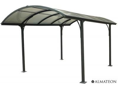Carport aluminium toit demi-rond - 14.62 m² - anti-UV - garantie 5 ans