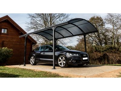 En avant première prix en baisse de 10 carport aluminium  toit demi-rond - 14.62 m² - anti-UV - garantie 5 ans