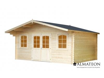 Abri en sapin 12,9 m² LUXEMBOURG 1, épaisseur 28 mm