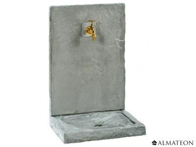 Votre fontaine murale ardoisée, grand format 49 x 36 x 74 cm, avec robinet