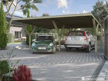 Abri voiture Y double avec toit plat en acier / 588 x 362 cm