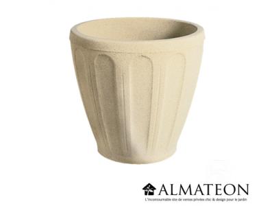 Vase rond ton pierre d'une contenance de 39 litres diamètre avec une hauteur de 47 cm