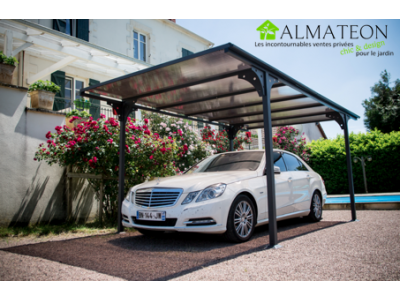Offre spéciale web votre carport à toit plat en aluminium - 14,70 m2 -  ANTI-UV - Garantie 5 ans