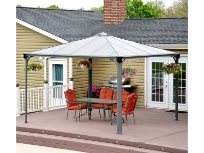 Pavillon de belvédère ou kiosque gris cadre en aluminium 350 x 350 cm toit anti-uv spécial WEB