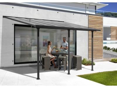 Baisse des prix sur le couv'terrasse en aluminium coloris gris anthracite, 15,38 m2