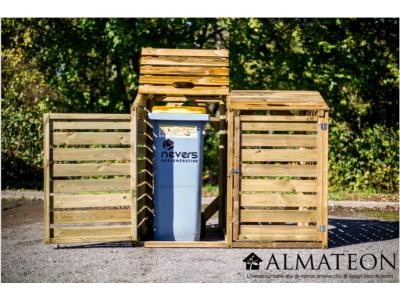 Cache poubelles en bois autoclavé pour 2 poubelles